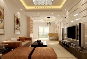 现代风格时尚米色客厅背景墙装修效果图片