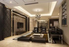 现代黑色时尚客厅背景墙装潢案例