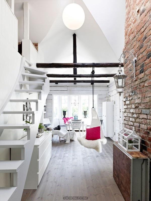 极简白色阁楼装潢设计
