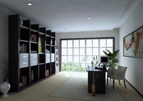 中式白色雅致书房装修图