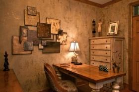 欧式风格黄色复古书房装修效果图片