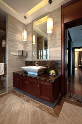 现代风格红色卫生间浴室柜效果图