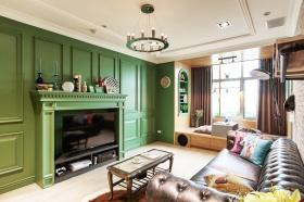 绿色混搭客厅背景墙装潢设计