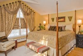 欧式风格浪漫黄色卧室窗帘美图