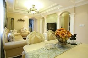 黄色欧式风格客厅吊顶美图赏析