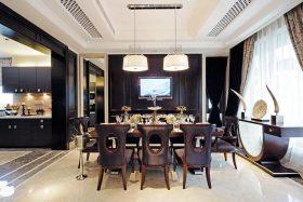 黑色时尚欧式餐厅吊顶装修