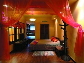 新中式红色卧室效果图