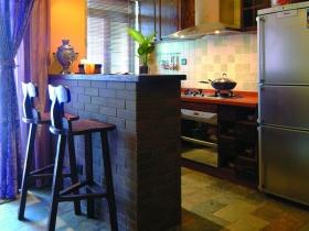 黑色简约休闲厨房吧台装饰图