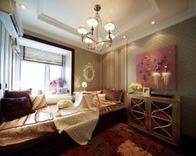 欧式风格黄色卧室榻榻米装饰图欣赏