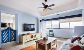 浪漫地中海蓝色客厅背景墙赏析