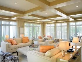 现代风格米色客厅吊顶装饰图