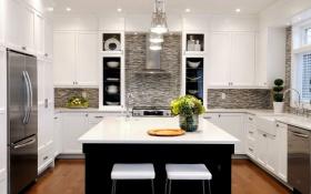 白色现代厨房装潢设计图片