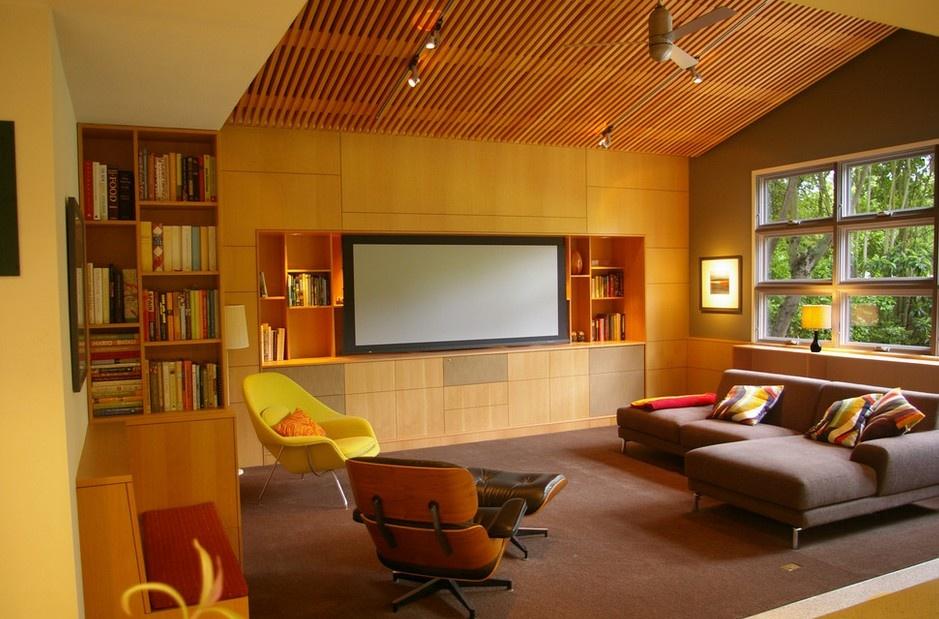 現代橙色客廳背景墻裝修設計