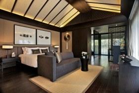 中式黑色雅致卧室吊顶装修