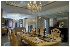 欧式黄色餐厅吊顶美图欣赏