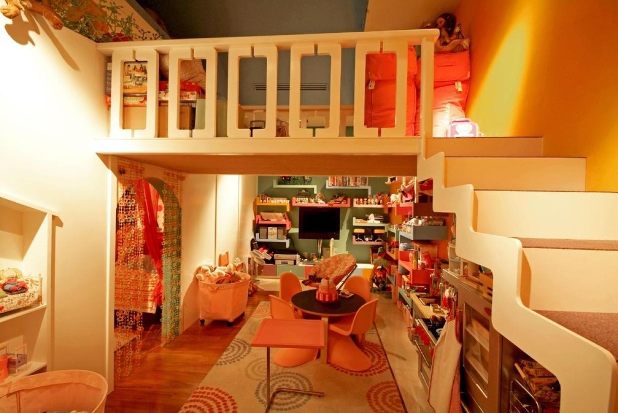 橙色欧式风格儿童房效果图赏析-兔狗装修效果图