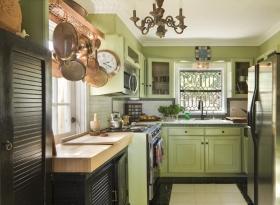 绿色欧式厨房设计装潢图