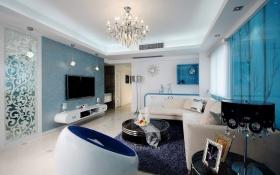 蓝色梦幻现代风格客厅背景墙装修案例