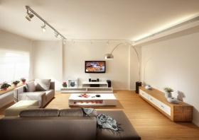 白色极简客厅背景墙美图