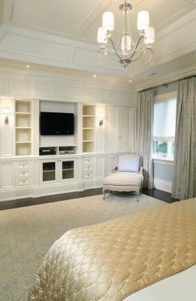 米色欧式风格卧室电视背景墙欣赏