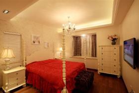 欧式风格红色卧室设计图片