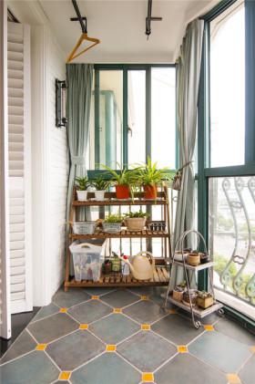 绿色东南亚风格阳台窗帘效果图