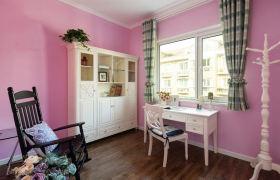 欧式风格粉色书房窗帘设计装潢