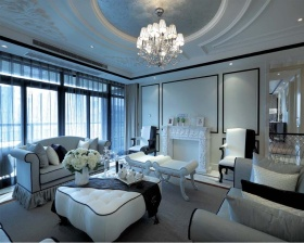 简欧浪漫白色客厅装潢设计