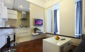 极简米色客厅背景墙装修效果图