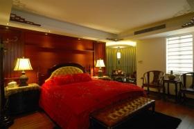 红色中式风格卧室装饰图