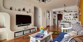 蓝色地中海客厅背景墙设计装潢