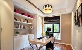 白色简欧风格书房装修效果美图