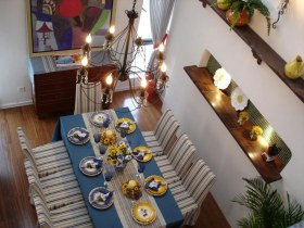 蓝色地中海风格餐厅装修效果图片