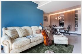 田园蓝色客厅效果图设计