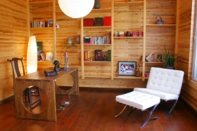 橙色中式风格书房装修布置图
