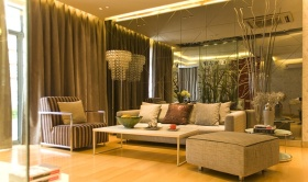 黄色现代风格客厅沙发背景墙设计装潢