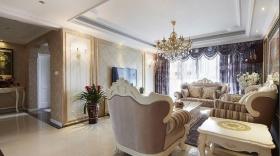 米色轻奢欧式风格客厅吊顶美图