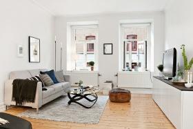 宜家休闲白色客厅设计
