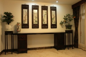 黑色雅致中式风格背景墙设计欣赏
