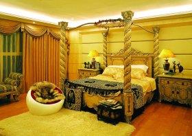 欧式风格黄色卧室美图欣赏