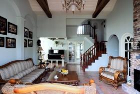 蓝色美式客厅图片欣赏