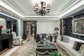 褐色欧式风格客厅吊顶设计欣赏