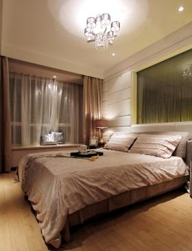 米色简约风格卧室飘窗装修图片