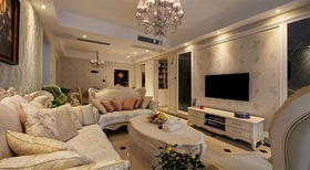 米色欧式客厅背景墙设计效果图