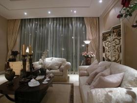 浪漫米色欧式客厅窗帘装修图