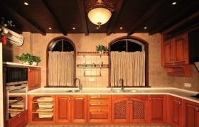 红色美式风格复古厨房橱柜图赏析