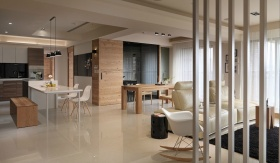 米色北欧风格客厅隔断装潢