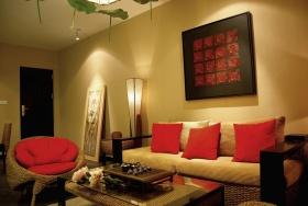 温馨黄色混搭风格客厅装修图片