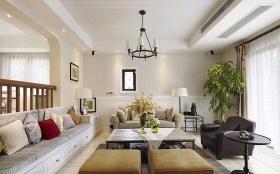 白色田园风格客厅图片欣赏