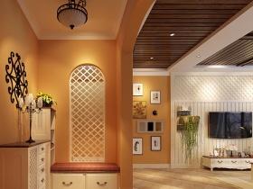 橙色田园风格背景墙装修案例